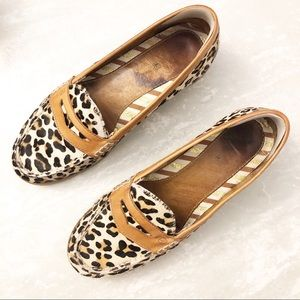 Sperry calf hair leopard penny loafer Sz 9, used for sale